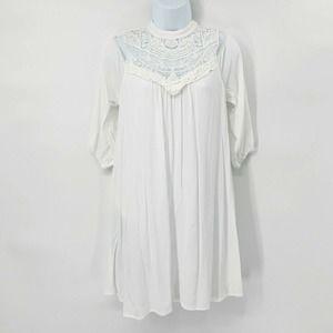 AUW Cold Shoulder Dress White Lace Cut Out